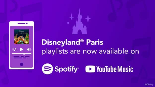 Disneyland Paris playlists on Spotify and YouTube Music graphic