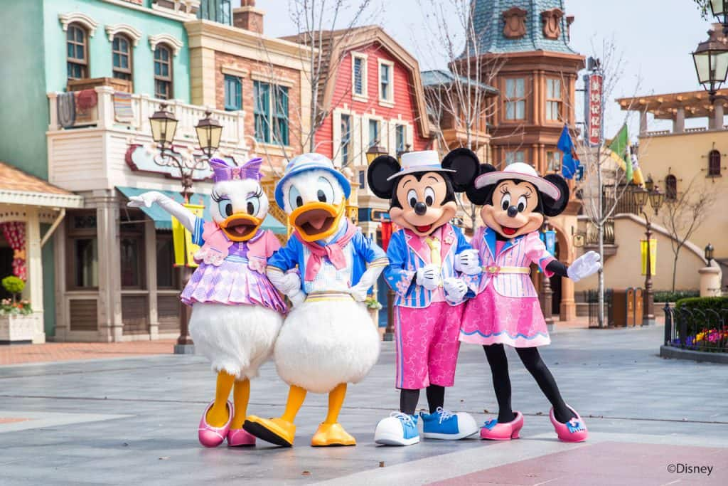 Daisy Duck, Donald Duck, Mickey Mouse and Minnie Mouse in their springtime outfits at Shanghai Disney Resort