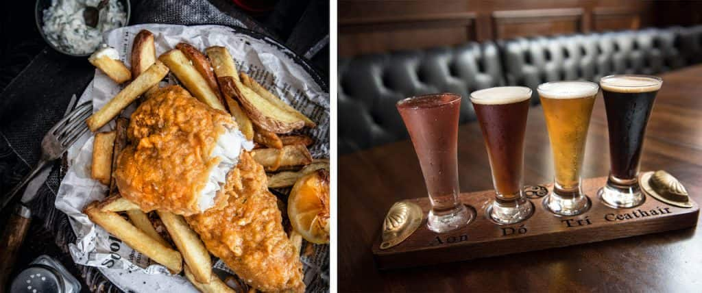 Fish and Chips and beer flight from Raglan Road Irish Pub & Restaurant at Disney Springs