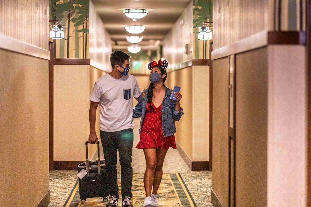 Guests walking inside a hotel