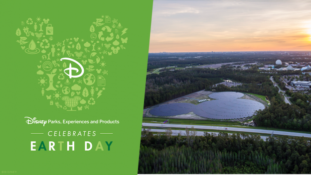 Earth Day graphic with solar panels at Walt Disney World Resort