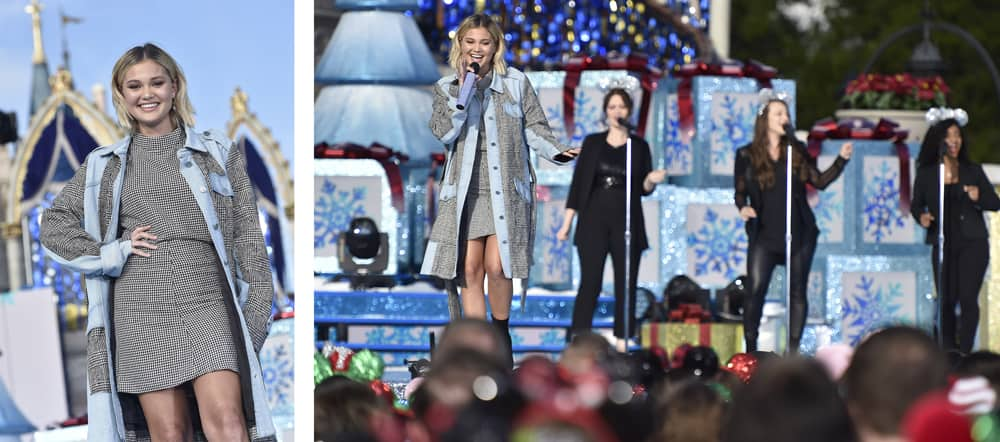 Olivia performing during the 'Disney Parks Magical Christmas Day Parade' (December 2018)
