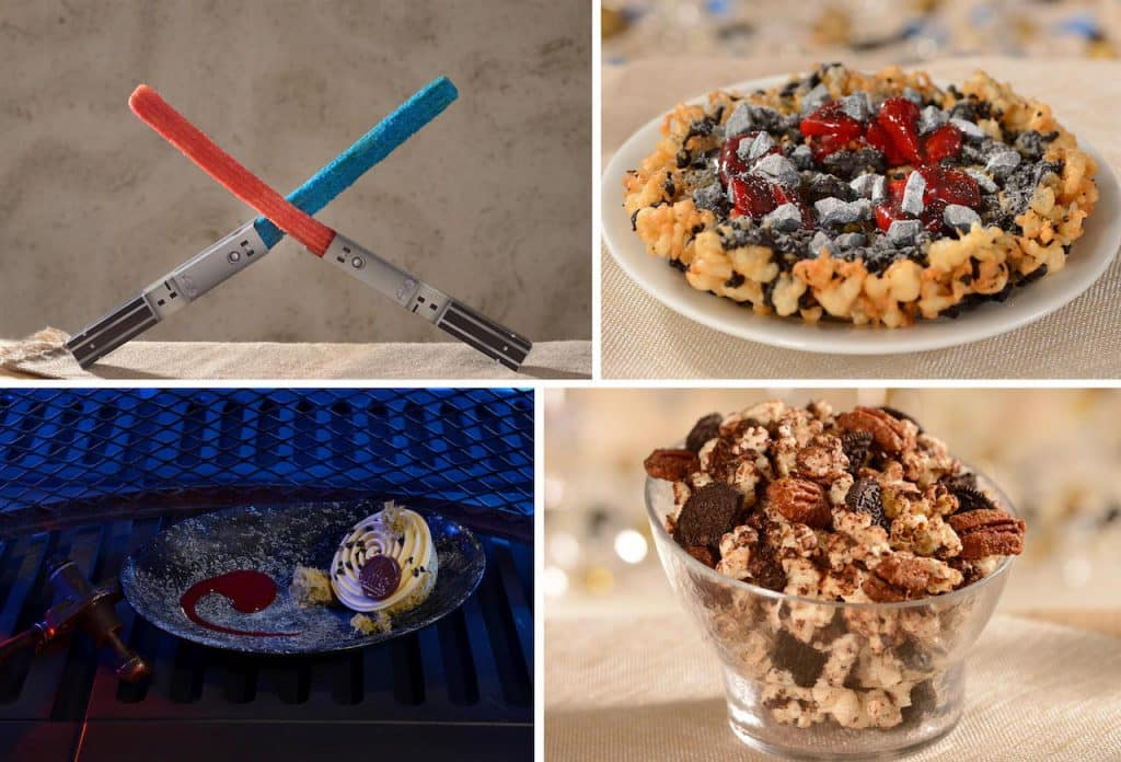 Lightsaber Churros, Galactic Swirl Funnel Cake, Oi-Oi Puff and • Interstellar Sweet and Crunchy Popcorn