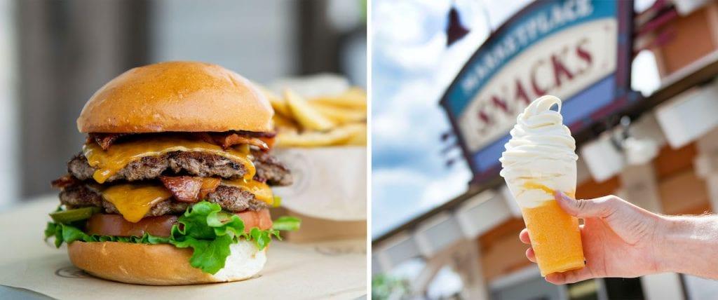Double Bacon Stack Burger and Orange slushy topped with vanilla soft-serve