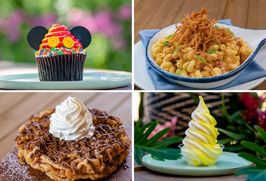 Jolly Holliday Cupcake, River Belle Skillet Brisket Mac & Cheese, Stage Door Cafe Nutella Funnelcake, Tropical Hideaway Pineapple Lemon Whip