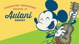Character dining at Aulani, A Disney Resort & Spa graphic with Mickey Mouse