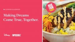 Disney and Impossible collaboration graphic with image of Boneless Impossible™ Korean Short Ribs with Cilantro-Lime Rice, Danmuji Slaw, and Kimchee Mayonnaise
