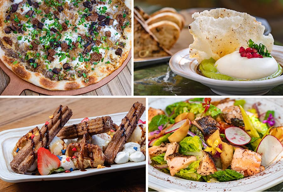 Grand Californian Hotel Forrest Mushroom Pizza, Grand Californian Hotel Avocado Toast Burrata, Grand Californian Hotel Churro Sundae, Grand Californian Hotel Lemon Sumac Salmon Salad