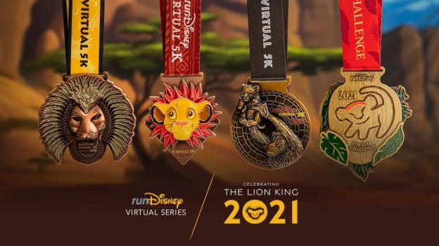 "Collage of finisher medal for the runDisney Virtual Series featuring ""The Lion King"""