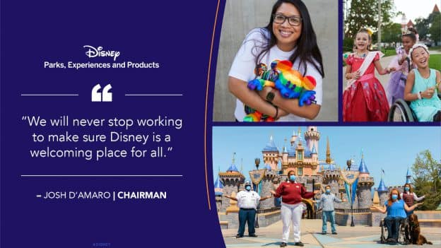 Graphic featuring a Walt Disney quote and a collage of guests and cast members