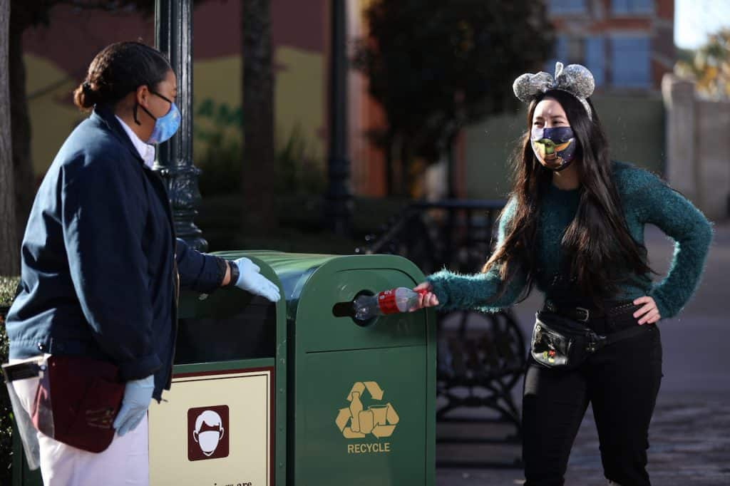 Guest recycling while visit a Disney park