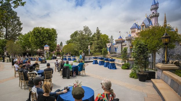 Seven Disneyland Resort cast members who marked 50 years of service in 2020, and one who marked 55, were recently honored at Sleeping Beauty Castle for a special service award ceremony