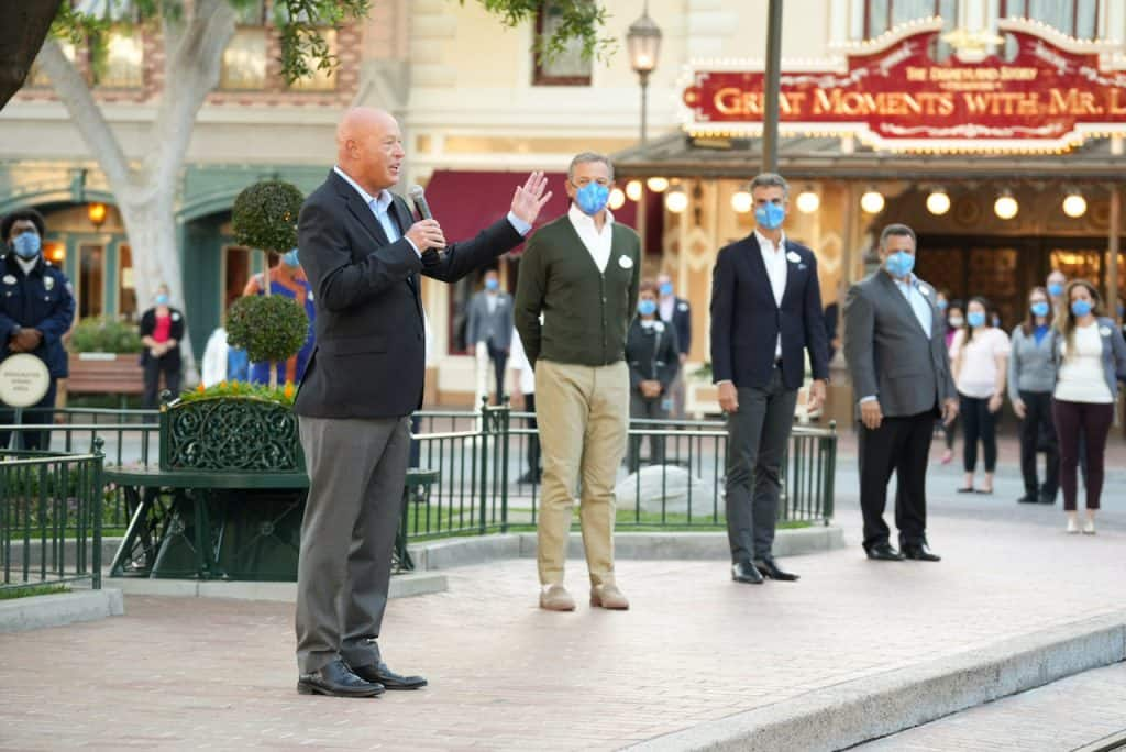 The morning started off with Bob Chapek, Walt Disney Company CEO, addressing cast members at a ceremony celebrating the historic reopening of the Disneyland Resort