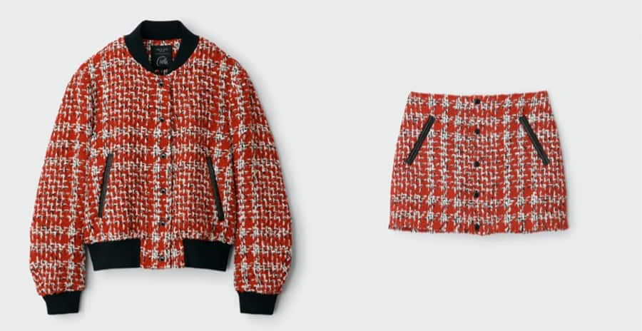 Rag & Bone Cruella tweed bomber jacket with matching mini skirt from the Disney Cruella Collection