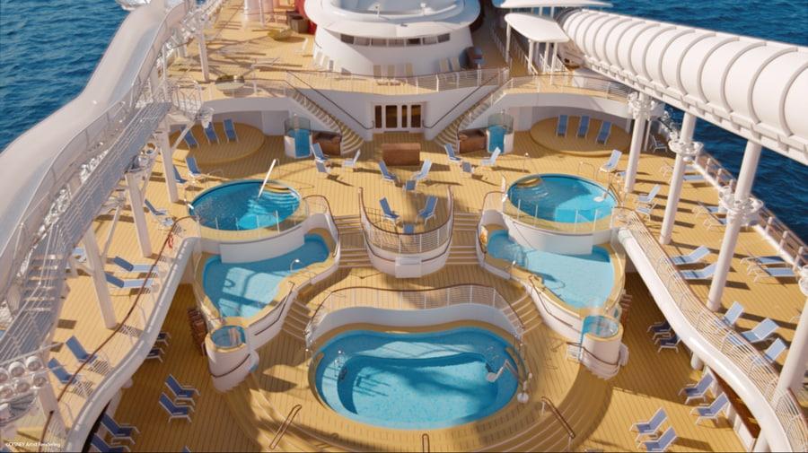 Disney mostra detalhes das piscinas do Disney Wish