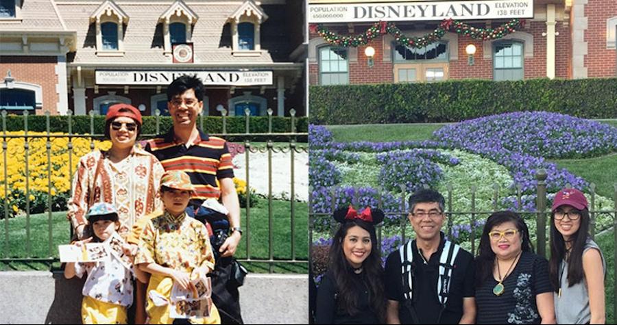 The Singsanong family on past visit to the Disneyland Resort
