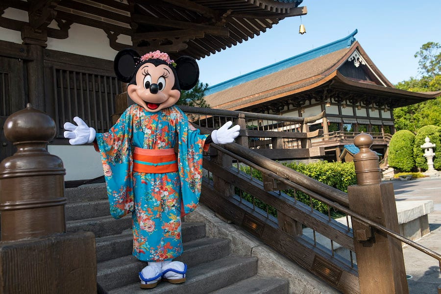 Minnie Mouse in the Japan pavilion at EPCOT