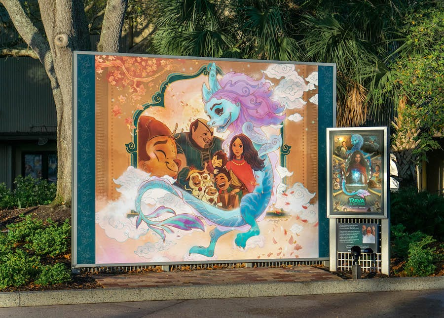 "Art installation piece inspired by ""Raya and the Last Dragon Photo"" at Disney Springs"