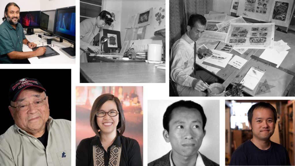 Collage of Asian Pacific American filmmakers, artists, authors and screenwriters