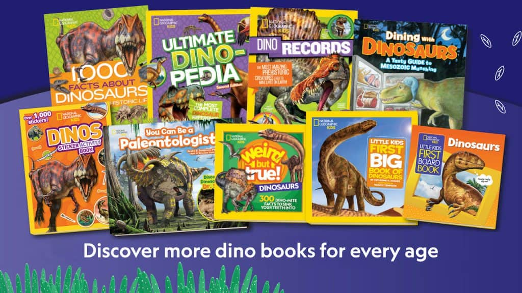 Collage of books about dinosaurs from National Geographic