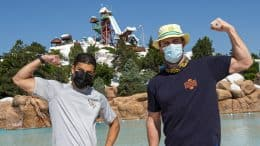 Actors Stephen Amell Rick Gonzalez at Blizzard Beach