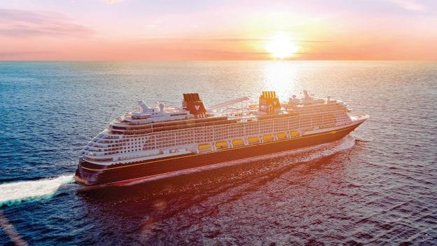 Rendering of the Disney Wish at sea