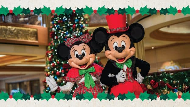 Mickey and Minnie Mouse dressed for the holidays on a Disney Cruise