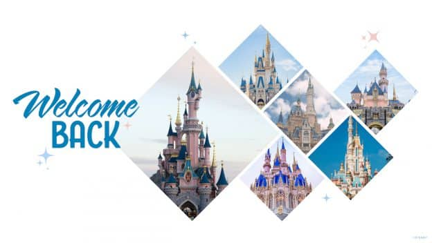 Graphic featuring all the castles at Disney Parks