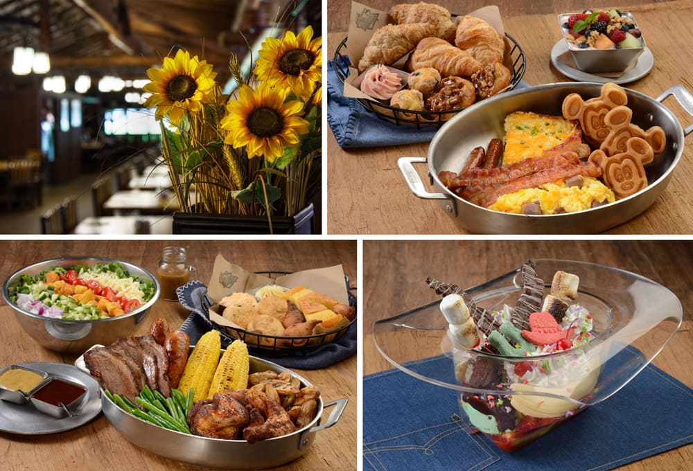Oven-fresh pastry basket and berry granola yogurt parfait. Smoked brisket and eggs, bacon, sausage, and cheesy potato casserole. Mickey waffles. Trail's End Restaurant