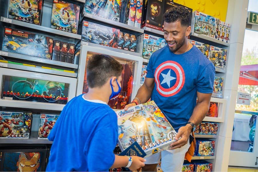 Seattle Seahawks quarterback Russell Wilson at Avengers Campus