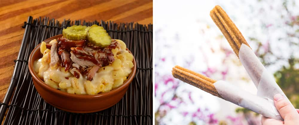Baked Macaroni & Cheese and churros at Eight Spoon Café.