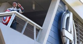 Captain America welcomes guests to Avengers Campus at Disney California Adventure Park