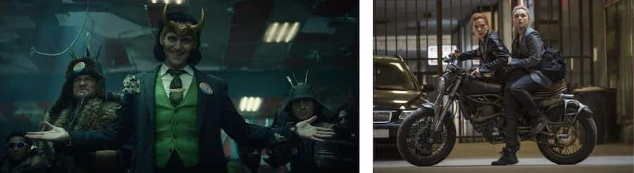 """Collage of scenes from """"Loki"""" and """"Black Widow"""""""