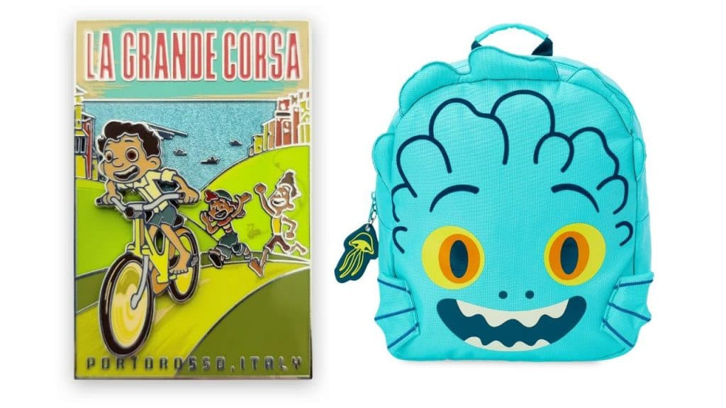 'La Grande Corsa'' Pin and Luca's Sea Monster Face backpack