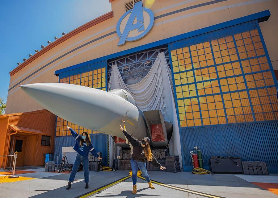 Captain Marvel's jet fighter at Hangar 12