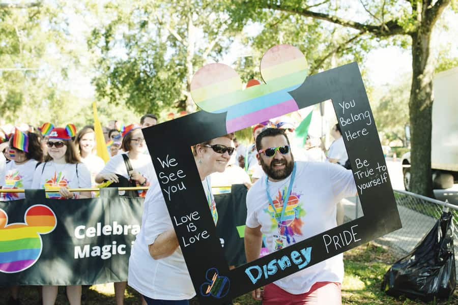 Vivian Ware pictured with Carlos Jimenez celebrating Disney Pride