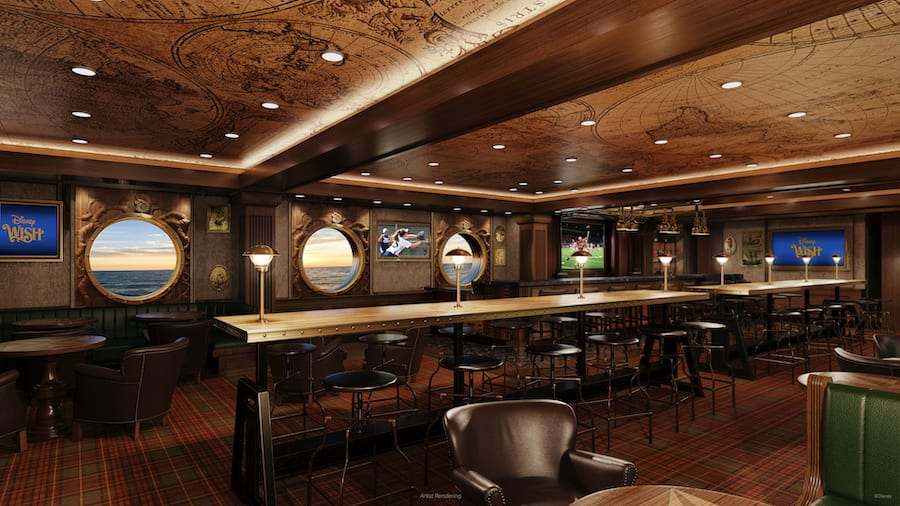Rendering of Nightingale's, a a refined piano bar, coming to the Disney Wish