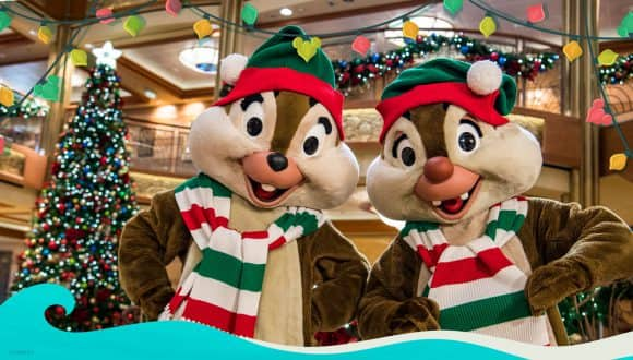 Chip and Dale in holiday attire aboard Disney Cruise Line