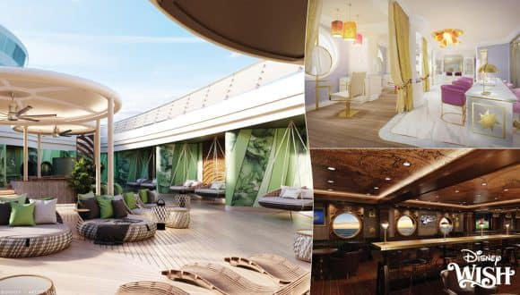 Artist renderings of adult spaces and experiences coming to the Disney Wish