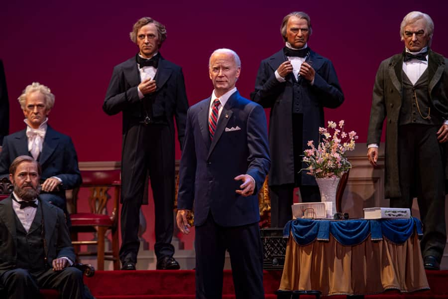 Audio-Animatronics replica of President Joe Biden at Hall of Presidents at Magic Kingdom Park