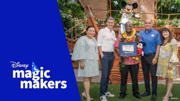 Nate Rhodes, a Banquet and Events Services Director at Aulani, A Disney Resort and Spa with Aulani Ambassador, Alyssa-Lende, Josh D'Amaro, chairman, Disney Parks, Experiences and Products and more Aulani cast