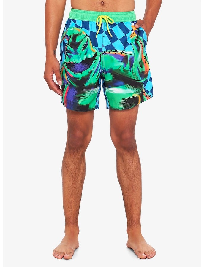 """""""The Nightmare Before Christmas"""" Oogie Boogie Neon Checkered Swim Trunks"""