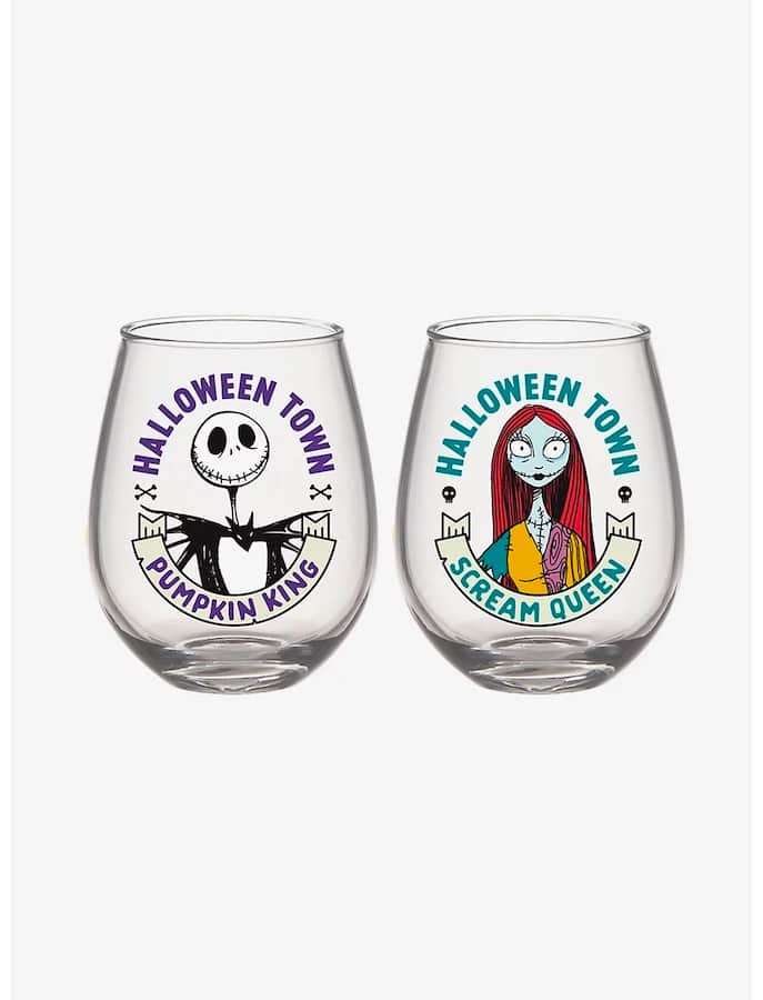 """""""The Nightmare Before Christmas"""" Jack & Sally Stemless Wine Glasses"""
