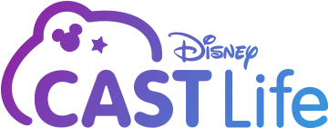 """Logo image reads """"Disney Cast Life"""" in magenta and blue"""