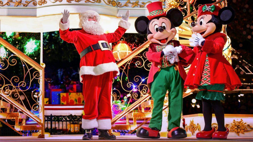 Santa, Mickey Mouse and Minnie Mouse at Disneyland Paris