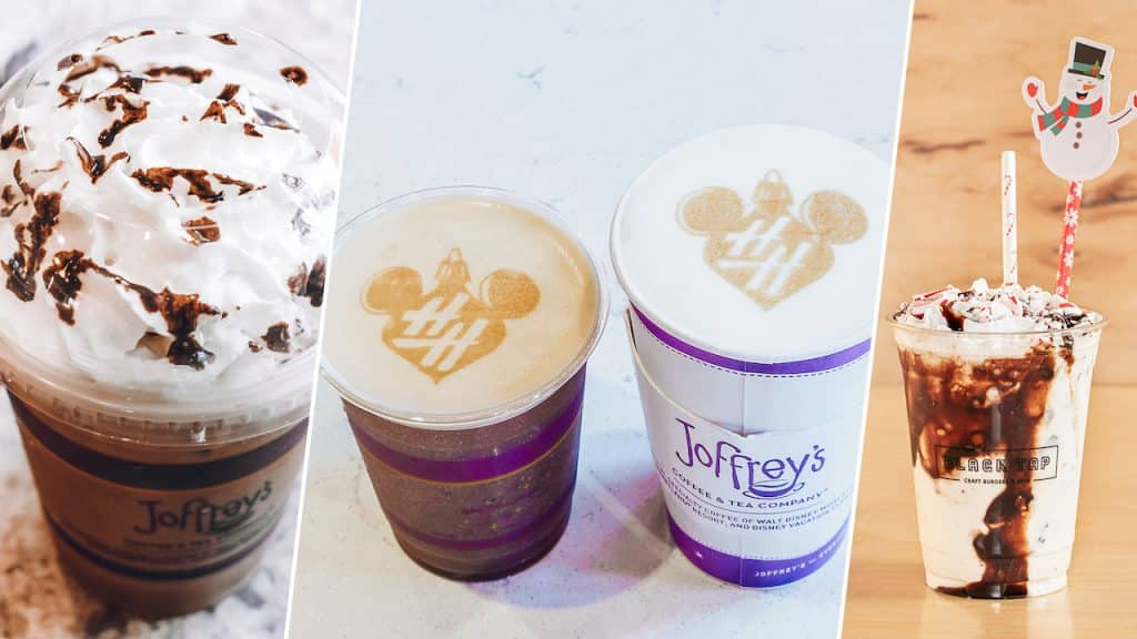 Collage of Joffery's Coffee offerings inspired by the holiday season