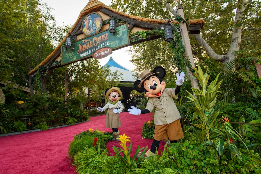 """Mickey Mouse and Minnie Mouse arrive at the World Premiere of Disney's """"Jungle Cruise"""" at Disneyland Park"""