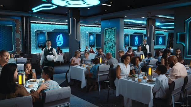 Rendering of Worlds of Marvel coming to the Disney Wish