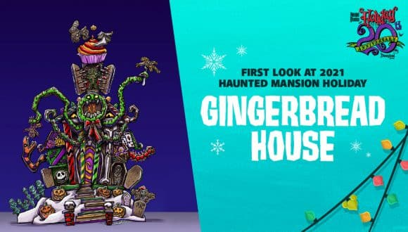 Graphic with a First Look at the 2021 Haunted Mansion Holiday Gingerbread House at Disneyland Park