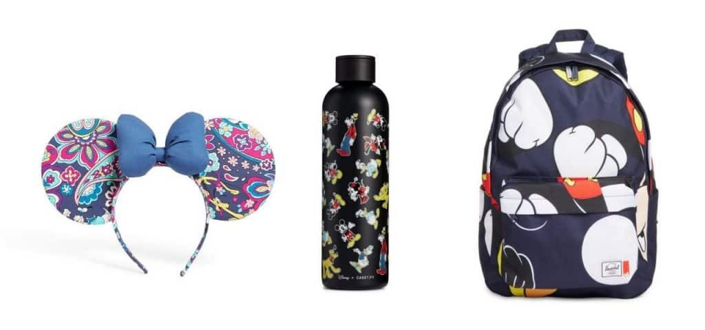 Vera Bradley Disney Minnie Mouse Ear Headband, the Disney x CASETiFY Insulated Stainless Steel Water Bottle, and the Disney x Herschel Supply Co. Classic X-Large Mickey Mouse Print Backpack